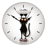 """Настенные часы из стекла Династия 01-006 """"Котенок"""""""