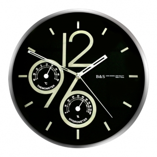 Настенные часы из металла B&S SHC-301 CSP(BL)