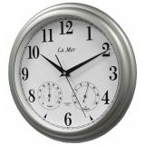 Настенные часы с термометром и гигрометром La Mer GD 115 SILVER