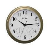 Настенные часы с термометром и гигрометром La Mer GD 115 GOLD