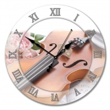 """Настенные часы из стекла Династия 01-027 """"Скрипка"""""""