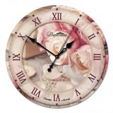 """Настенные часы из стекла Династия 01-028 """"Розы"""""""